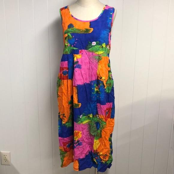 Jams World Women Vintage Hawaiian Print Sleeveless Dress w Pockets Blue Small